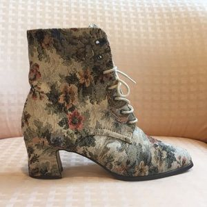VINTAGE 90s Victorian Tapestry Boots